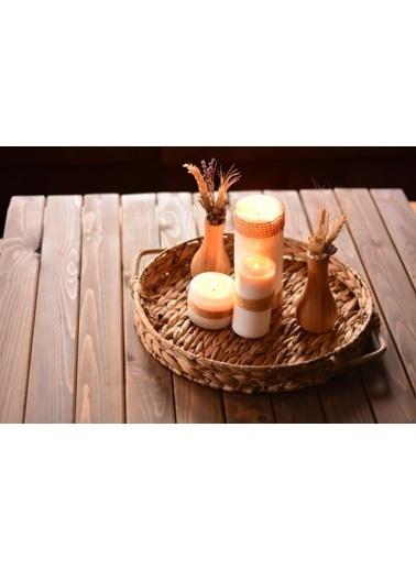 Bambum Laus Hasır Servis Tepsisi Yuvarlak Renkli